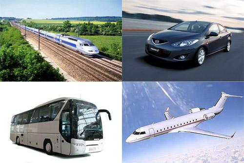 Поезд, самолет, автобус, автомобиль