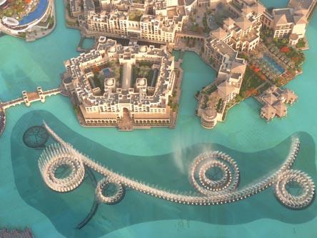 Вид с Бурж Халива на фонтаны в Дубае