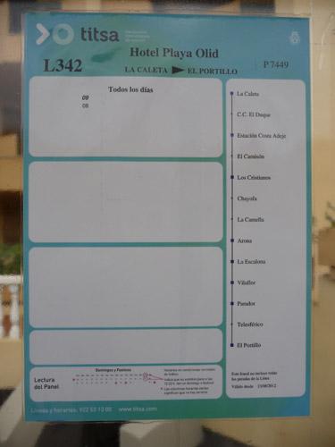 Расписание на остановке на Тенерифе